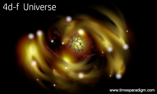 An artists impression of the universe in four dimensions.