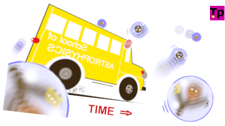 Illustration of a bus screeching to a halt, while bubbles pass it by on the way down hill.