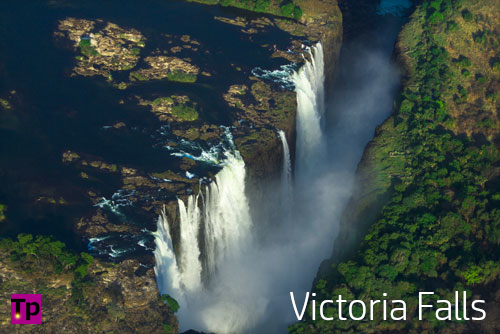 Aerial photo of Victoria Falls, Zimbabwe.